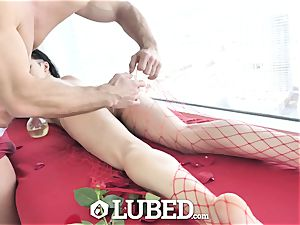 oiled Marley Brinx lubricated up massage penetrate and creampie