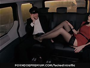 romped IN TRAFFIC - Footjob and car romp with Tina Kay