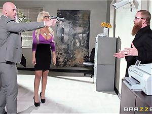 Bank robbing babe Bridgette B smashes in front of the manager