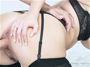 Private.com buxomy stunner Takes a facial cumshot After ass fucking