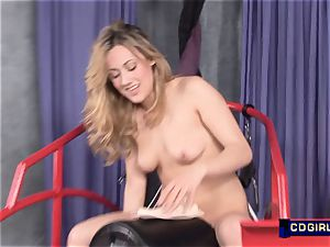 nice blond gets cooch boinked by a orgy machine