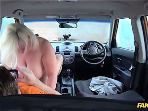 My 50 yr old mommy Lacey Starr gets her ample labia screwed in the car