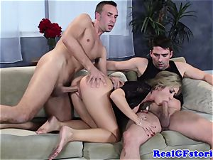 super-hot towheaded huge-chested cougar 3 way screw
