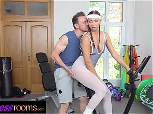 fitness rooms Morgan Rodriguez ripped pantyhose