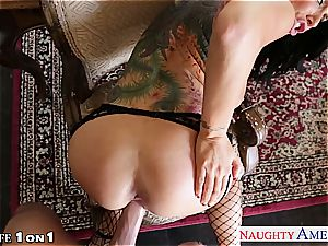 Alluring Romi Rain gets her smooth-shaven labia pulverized