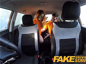 faux Driving school Swotty ginger schoolgirl