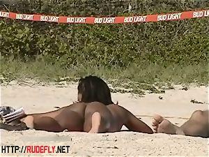 super-fucking-hot honies filmed lounging on a naturist beach