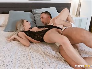 Aiden Ashley salivating on a large fuck-stick