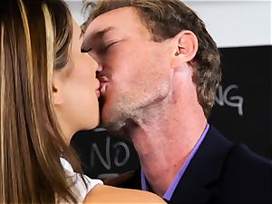 crazy college girl August Ames gets penalty from professor
