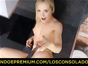 LOS CONSOLADORES - Hungarian platinum-blonde gets porked point of view