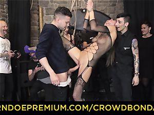 CROWD restrain bondage - extreme sadism & masochism screw wheel with Tina Kay