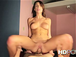 HD point of view steaming brunette with large fun bags likes to bounce spunk-pump