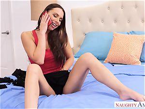 naughty Aidra Fox seduces draped mechanic