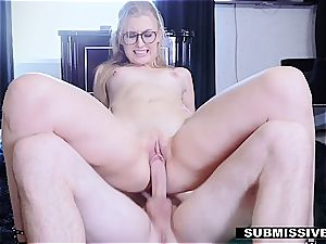 red-hot blondie plays a bad dame at the office and gets smacked