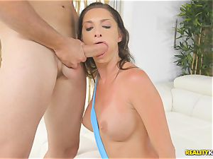 Pretty brown-haired Silvia Saige munches up rock-hard immense rod then jammed doggystyle