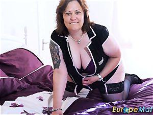 EuropeMaturE big-chested plump Solo frolicking masturbation