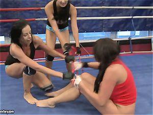 Emma backside and Larissa Dee nymph super-hot struggle