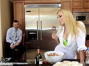 crazy platinum-blonde has intercourse with her husband's older step-brother in the kitchen