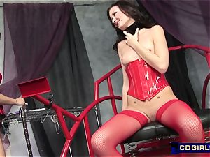 sexy dom wax and electric current to encite orgasmic blessing