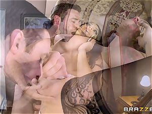 enormous boobed Alison Tyler plumbs her lover as she speaks to her boy