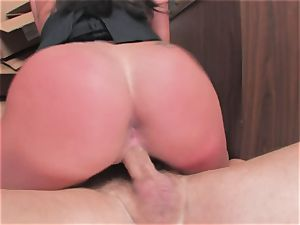 busty bi-atch Kerry Louise gets stuffed stiff and earns a enormous explosion of warm jizm