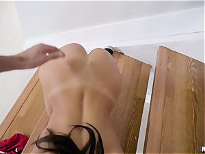 August Ames getting thrashed scrotum deep on the stairway