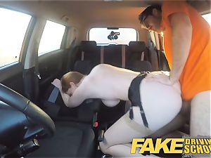 fake Driving college Nerdy sandy-haired teen schoolgirl