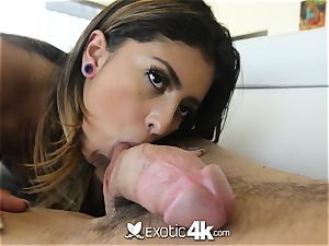 EXOTIC4K chained up running in rivulets oil pummel with Latina