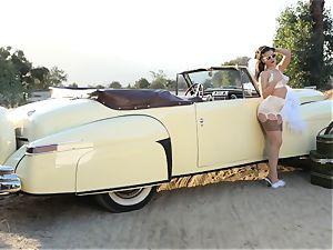 Lana Rhoades antique car cunt have fun