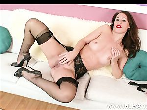 stunner peels off off ebony lacy lingerie to jack in nylons