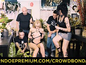 CROWD restrain bondage - bbc and domination & submission torture for Aruna Aghora