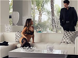 gorgeous Eva Lovia is teaching her bf some manners before the soiree