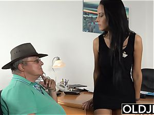 Caught granddad Having orgy With nubile brown-haired at job