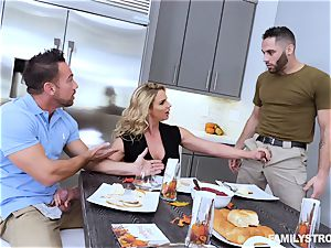 Phoenix Marie gets a torrid three-way at the dinner table